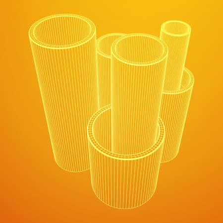 Wireframe metallurgy round tubes  イラスト・ベクター素材