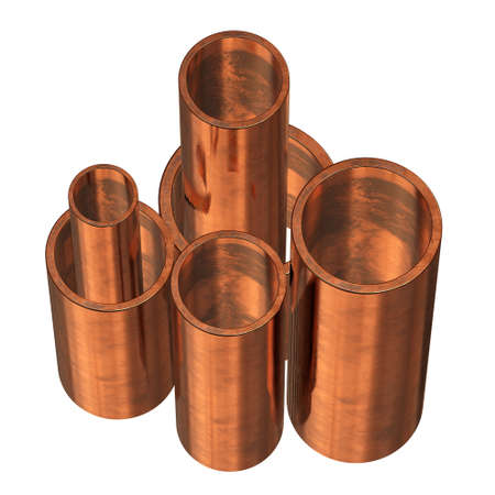 Copper pipes or tubes Stock Photo