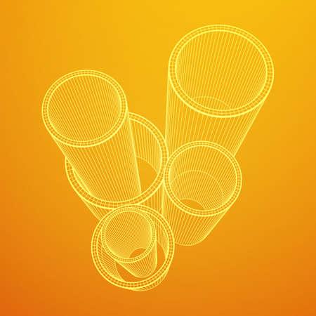 Wireframe metallurgy round tubes Иллюстрация