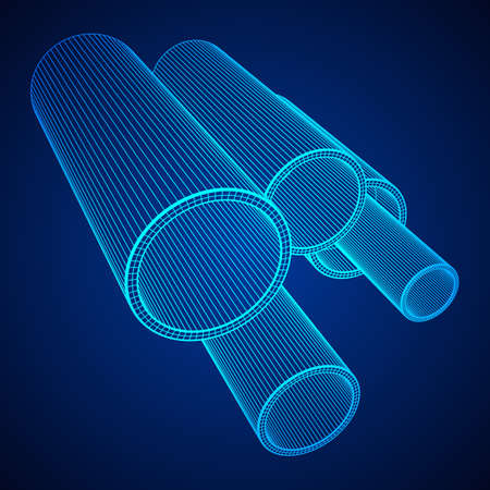 Wireframe low poly mesh construction metallurgy round tubes profile vector illustration
