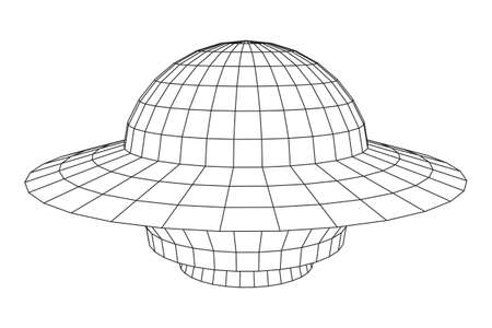UFO spaceship wire frame illustration.