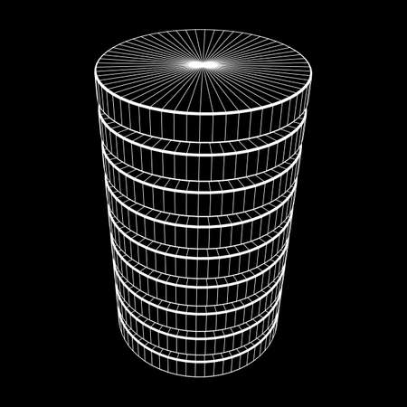 Futuristic server hard disk and database or battery cell illustration.