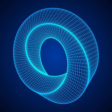 Mobius strip ring sacred geometry illustration.