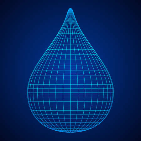 Water or liquid drop wire frame low poly mesh vector illustration. Ilustração