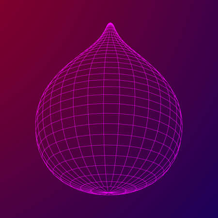 Water or liquid drop wireframe low poly mesh vector illustration.