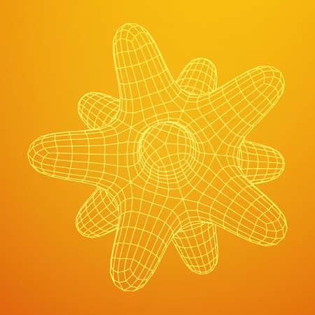 Bacteria virus wireframe mesh 3D vector illustration design