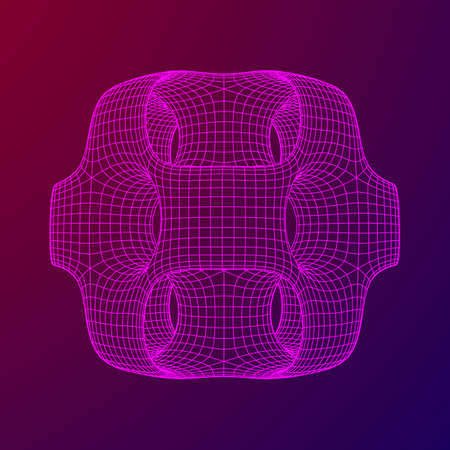 Wireframe Ported Cube. Cube of connected lines. Molecular lattice. The structural grid of polygons. Vector illustration sacred geometry