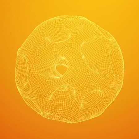 Abstract vector wireframe sphere globe with holes looks like small planet or asteroid. Vector low poly mesh illustration