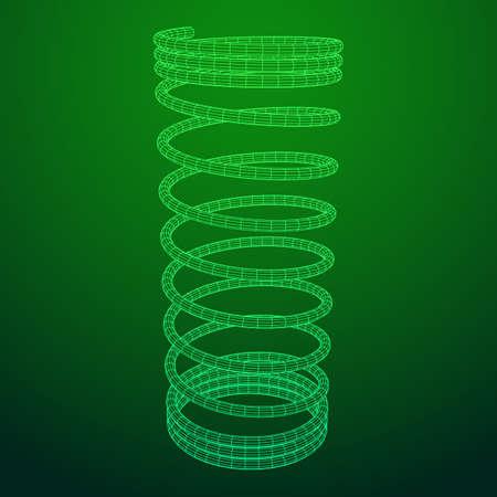 Wire frame green helix spring. Illustration