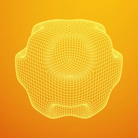 Wireframe Necker Smooth Cube. Cube of connected lines. Molecular lattice. The structural grid of polygons. Vector illustration sacred geometry