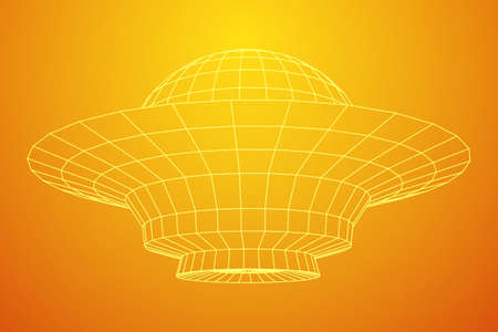 UFO spaceship wireframe low poly mesh. Vector illustration