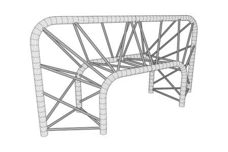 Truss girder element illustration on white background.