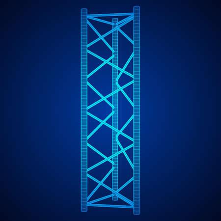 Truss girder element illustration on blue background.