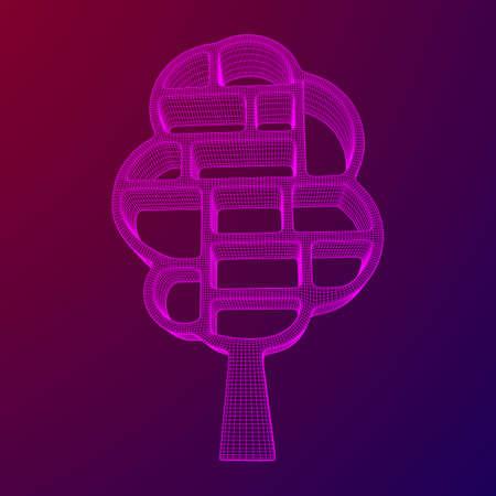 Tree of knowledge illustration on violet background.
