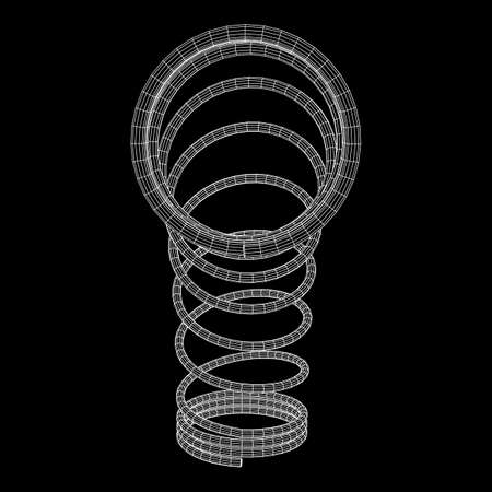 Wire-frame helix spring illustration on black background.