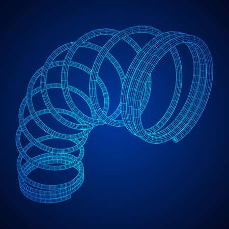 Wire-frame helix spring illustration on blue background. Illustration