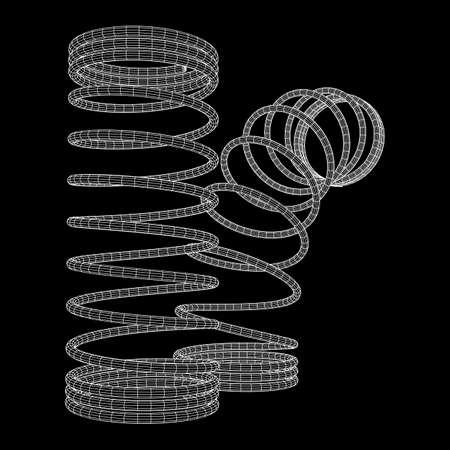ワイヤーフレーム低ポリメッシュ張力ヘリクススプリング。ベクトルの図 写真素材 - 101002594