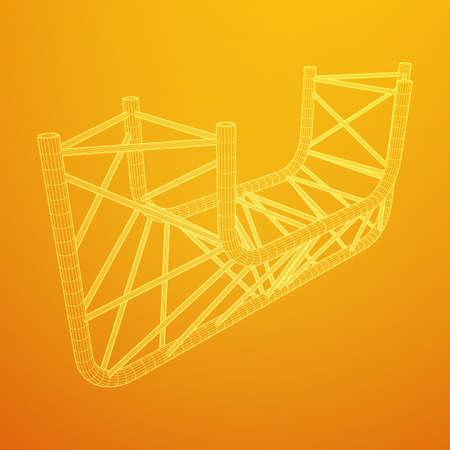 Truss girder element illustration on yellow background. Illustration