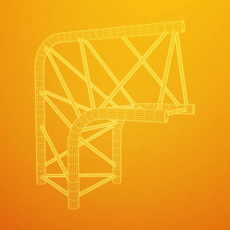 Truss girder element illustration on yellow background. Ilustração
