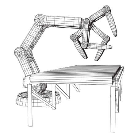 Robotic arm manufacture technology industry assembly mechanic hand and regular empty roller conveyor section wireframe low poly mesh vector illustration Illustration