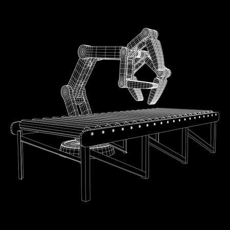 Robotic arm manufacture technology industry assembly mechanic hand and regular empty roller conveyor section wireframe low poly mesh vector illustration Stock Illustratie