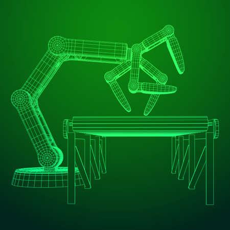 Robotic arm and roller conveyor icon Ilustração