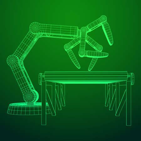 Robotic arm and roller conveyor icon Illustration