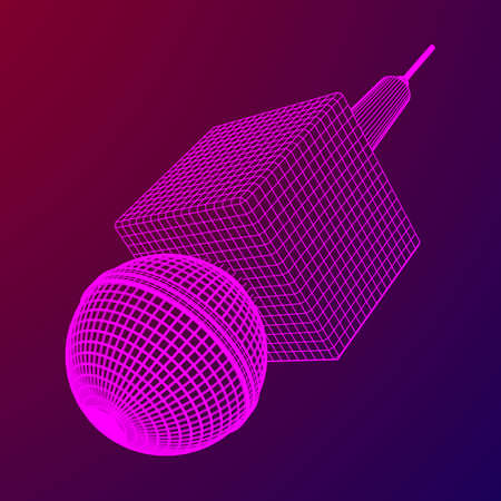 Microphone vector wire frame low poly mesh news illustration. News on TV and radio, interview. Ilustração