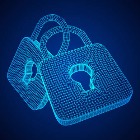 Padlock cyber security concept Illustration