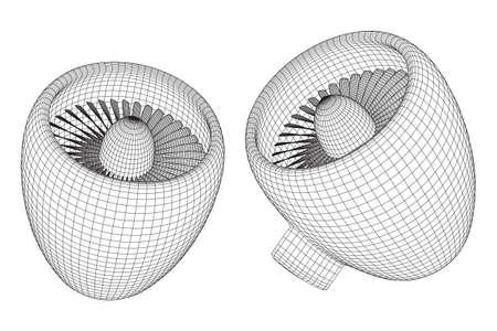 Turbo jet engine vector Illustration