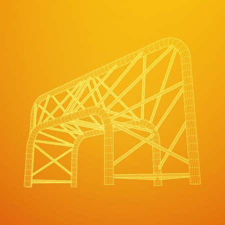 Truss girder element. Wireframe low poly mesh vector illustration.