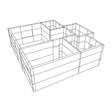 Wireframe architecture building.