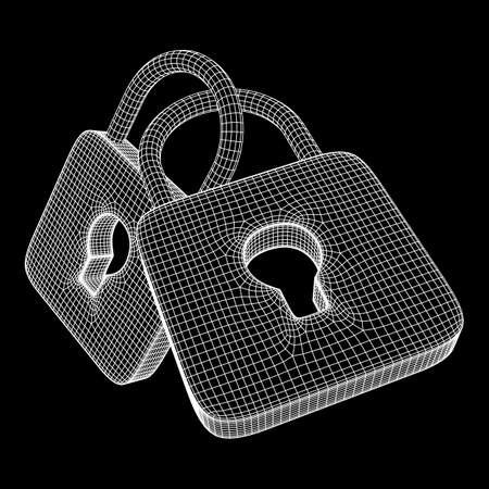 Padlock cyber security concept Çizim