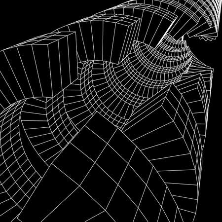 Futuristic tunnel of wireframe low poly mesh construction Illustration