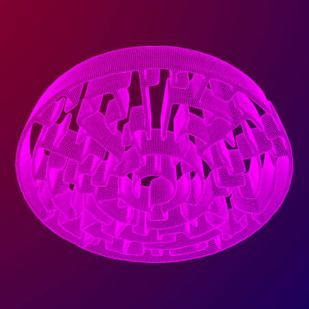 Circle Maze Wireframe low poly mesh construction