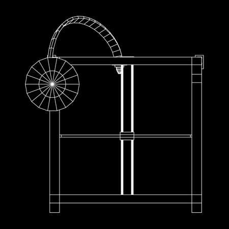 3D Printer Wireframe Illustration