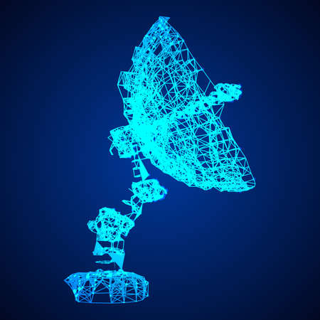 satellite dish wireframe vector