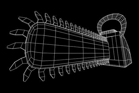 Chainsaw wireframe model vector