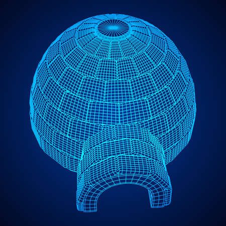 Igloo icehouse. Snowhouse or snowhut. Eskimo shelter built of ice. Wireframe low poly mesh vector illustration Stock Illustratie