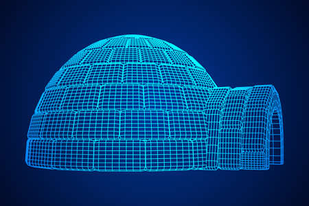 Igloo icehouse. Snowhouse or snowhut. Eskimo shelter built of ice. Wireframe low poly mesh vector illustration Ilustração