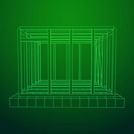 Wireframe framing house