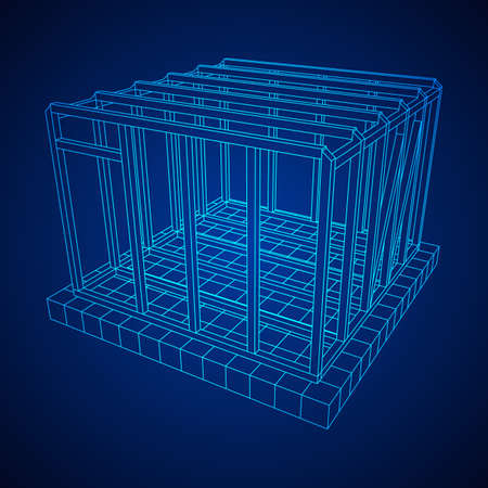 Wireframe framing house