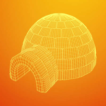 Igloo icehouse. Snowhouse or snowhut. Eskimo shelter built of ice. Wireframe low poly mesh vector illustration Illustration