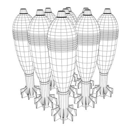 Missile, nuclear bomb or mortar mine Wireframe low poly mesh vector illustration Illustration