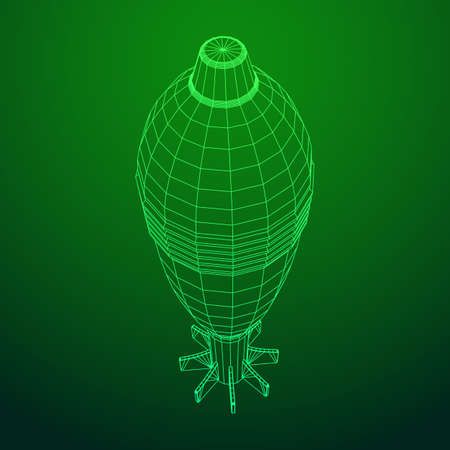 Missile, nuclear bomb or mortar mine Wireframe low poly mesh vector illustration 矢量图像