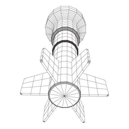 Missile, nuclear bomb or mortar mine Wireframe low poly mesh vector illustration 写真素材 - 115035015
