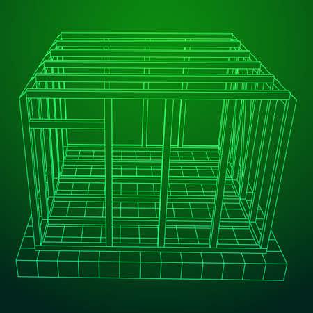 Maison à ossature filaire Vecteurs