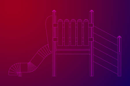 Playground slide wireframe low poly mesh construction. Vector illustration
