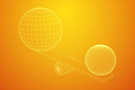 Simple seesaw scales weighing big and small abstract spheres. Balance, comparison and equality concept. . Wireframe low poly mesh vector illustration Illustration