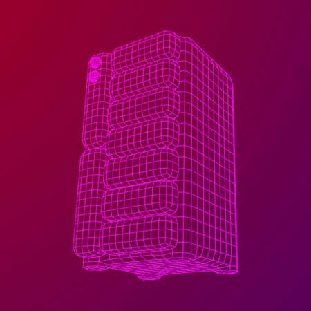 Hardware equipment telecommunication server. Data center storage room object. Computer database tower. Internet industry cluster. Wireframe low poly mesh vector illustration Illustration